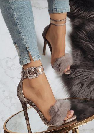 Faux Fur Ankle Strap Heeled Sandals