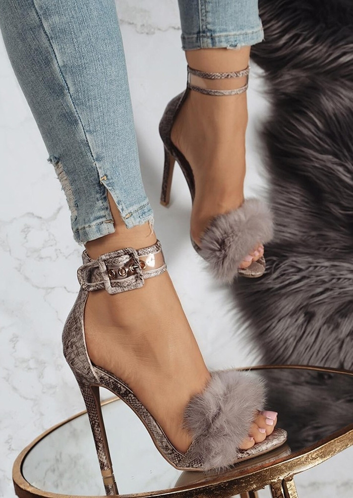 Faux Fur Ankle Strap Heeled Sandals