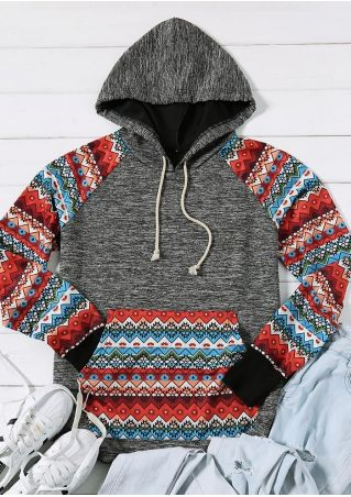 Geometric Splicing Kangaroo Pocket Hoodie
