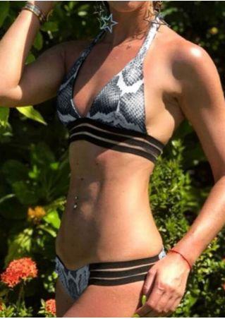 Printed Splicing Strappy Halter Bikini Set