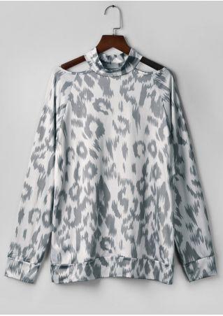 Leopard Printed Cold Shoulder Blouse
