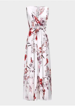Bohemian Floral Wrap Maxi Dress