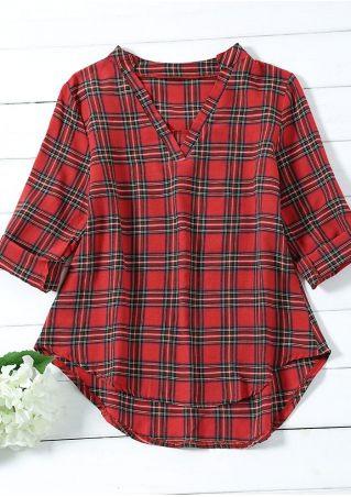 Plaid Asymmetric Tab-Sleeve V-Neck Shirt