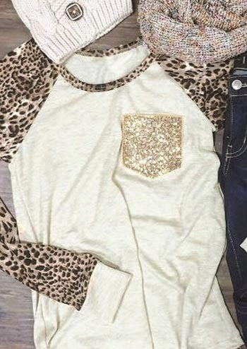 Leopard Sequined Pocket T-Shirt Tee - White