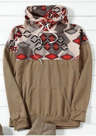 Geometric Printed Pocket Sweatshirt