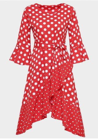 Polka Dot Asymmetric Casual Dress