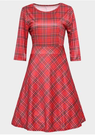 Plaid Three Quarter Sleeve Casual Dress