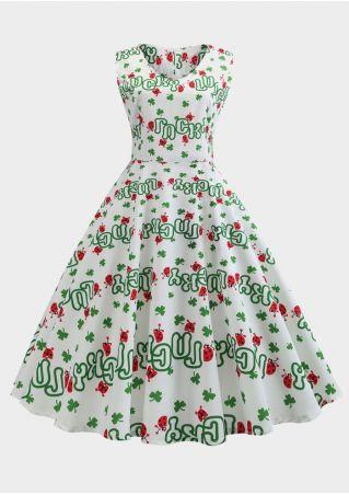 Luck Shamrock Sleeveless Casual Dress