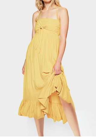 Solid Ruffled Tie Halter Casual Dress