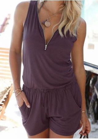 Solid Pocket Zipper Romper without Necklace