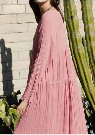 Solid V-Neck Long Sleeve Maxi Dress