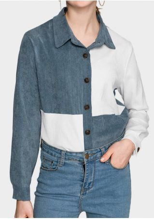 Color Block Button Turn-Down Collar Shirt