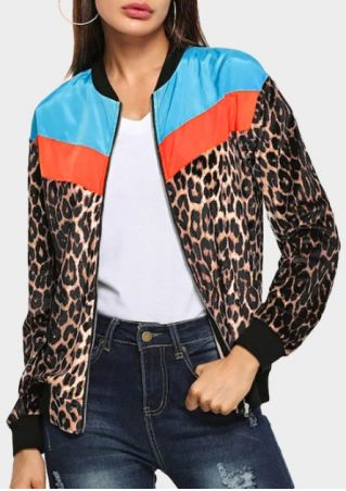 Leopard Printed Splicing Zipper Jacket