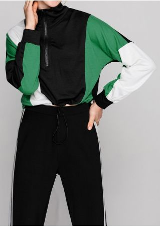 Color Block Splicing Zipper Sweatshirt