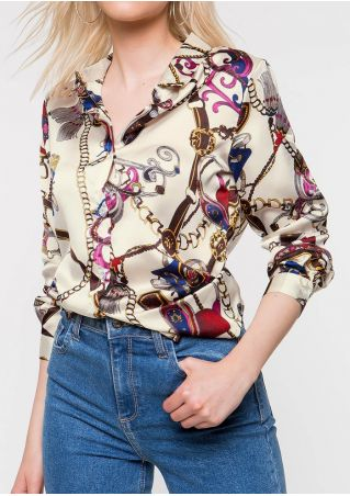 Printed Button Turn-Down Collar Shirt