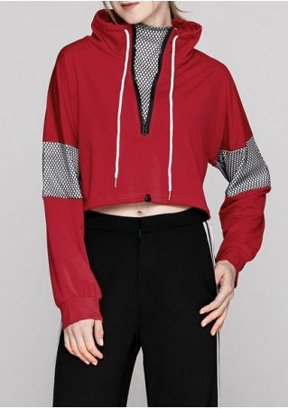 Splicing Drawstring Zipper Sweatshirt