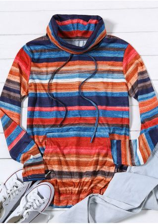 Striped Drawstring Cowl Neck Sweatshirt