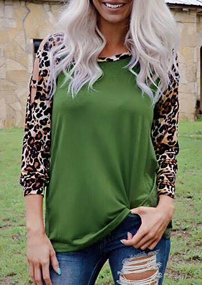Leopard Printed Hollow Out Blouse