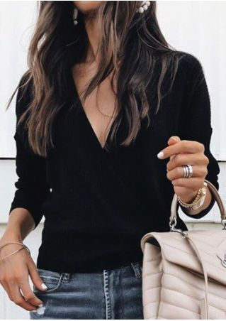Solid Wrap V-Neck Long Sleeve Blouse