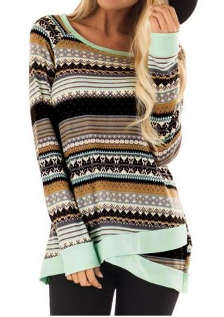 Striped Geometric Long Sleeve Blouse