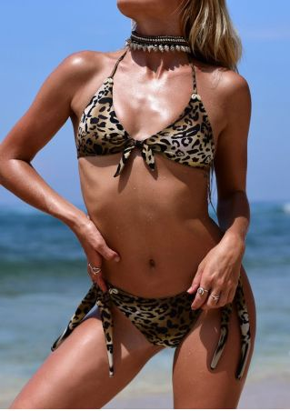 Leopard Printed Halter Bikini Set without Necklace