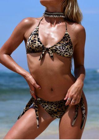 Leopard Printed Halter Bikini Set without Necklace