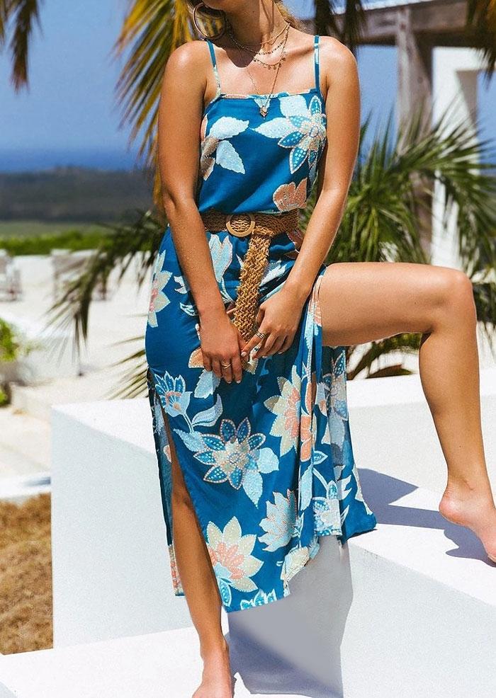 Floral Slit Adjustable Strap Maxi Dress