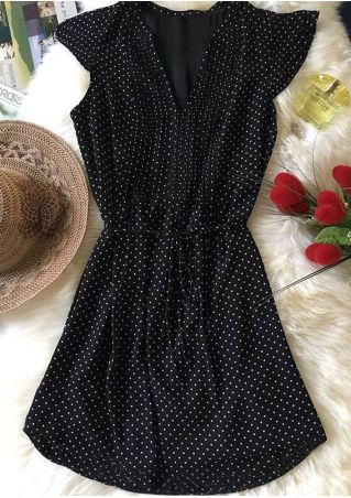 Polka Dot Drawstring Mini Dress Black