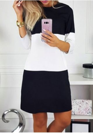 Color Block O-Neck Mini Dress