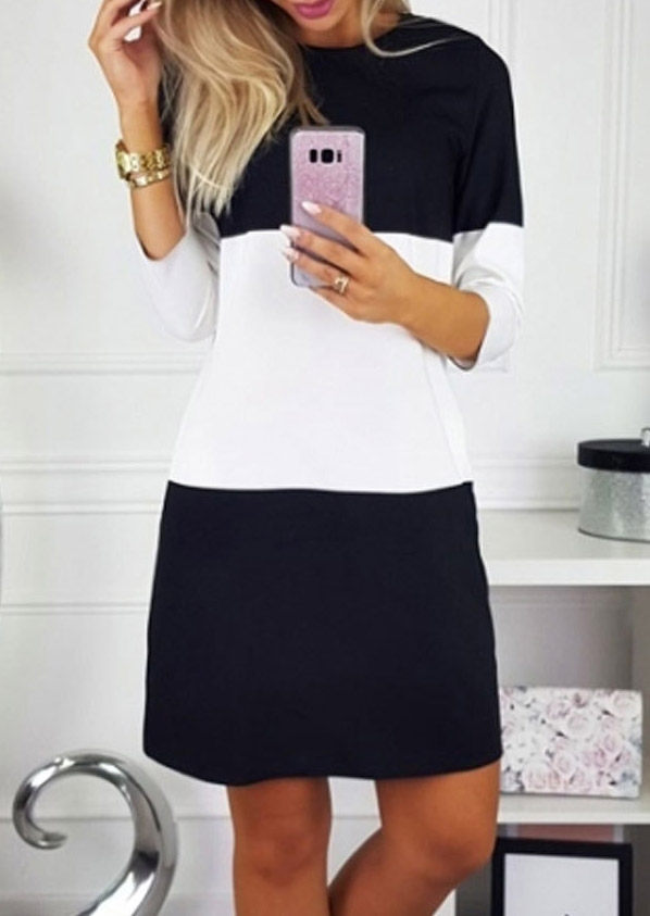Color Block O-Neck Mini Dress