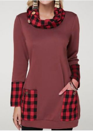 Plaid Splicing Pocket Sweatshirt