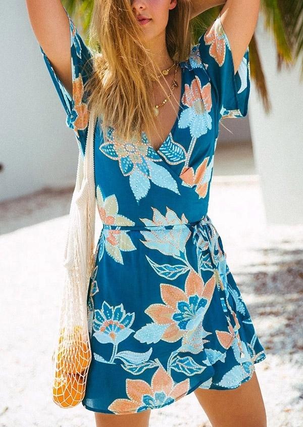 Bohemian Floral V-Neck Mini Dress
