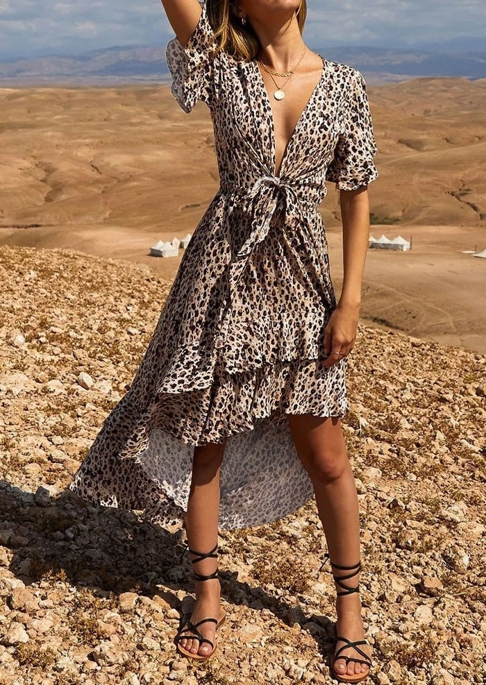 Leopard Printed Asymmetric Maxi Dress