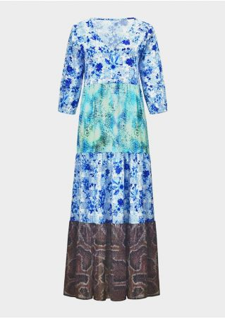 Floral Splicing V-Neck Maxi Dress