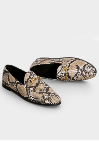 Snake Skin Printed Fashion Flats