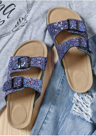 Glitter Buckle Flat Slide Sandals