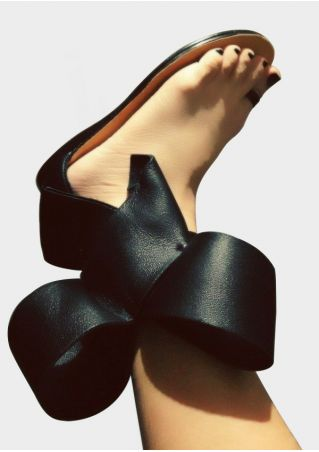 Solid Bowknot Toe Ring Sandals