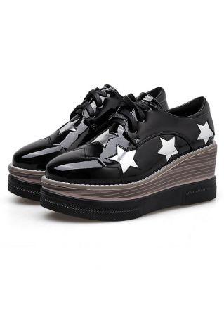 Star Lace Up Platform Shoes