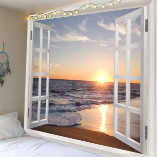 3D Window Sea Wave Sunset Beach Waterproof Wall Tapestry