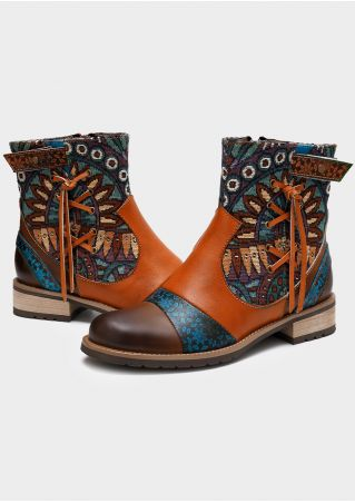 Ethnic Vintage Splicing Lace Up Boots