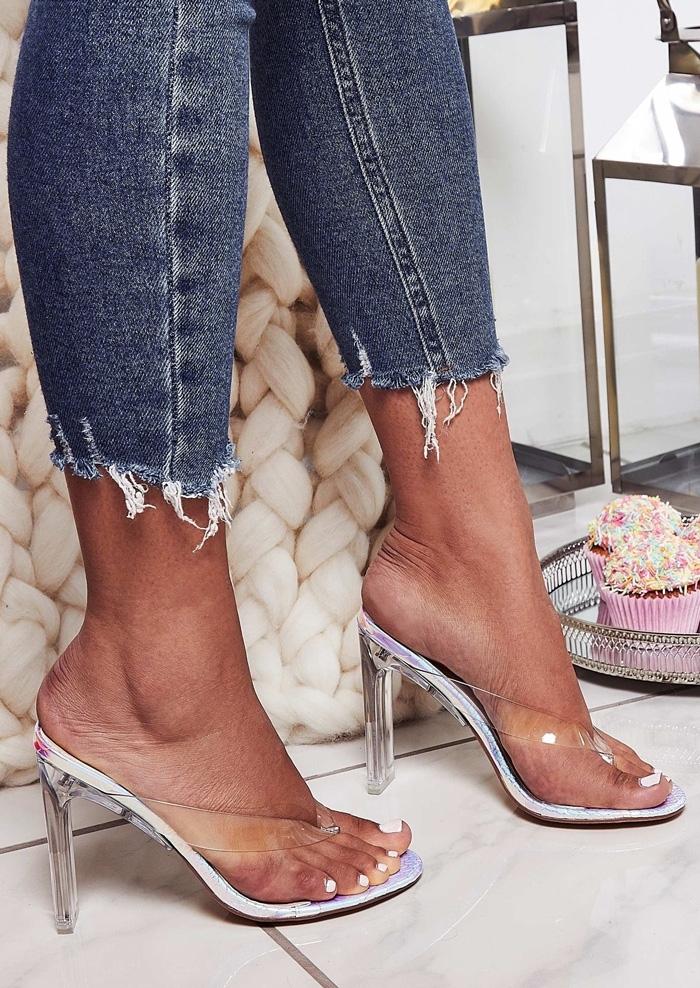 Transparent Toe Post Heeled Sandals