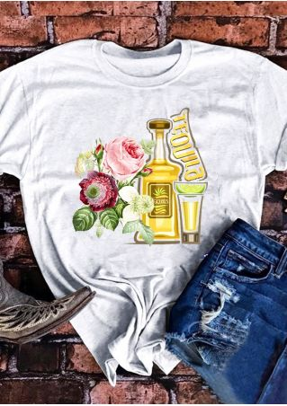 Tequila Floral O-Neck Short Sleeve T-Shirt Tee
