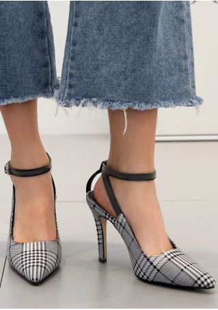 Plaid Ankle Strap Pointed Toe Heels