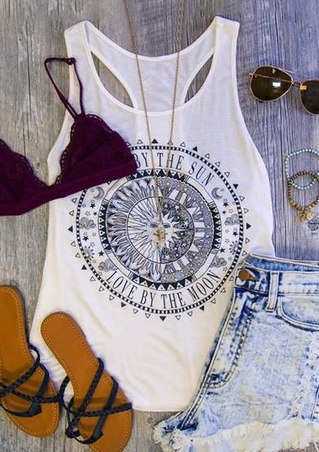 Sunflower Live By The Sun Love By The Moon Tank without Necklace