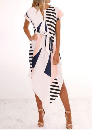 Geometric Printed V-Neck Casual Dress