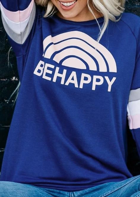 Be Happy Striped Splicing Sweatshirt