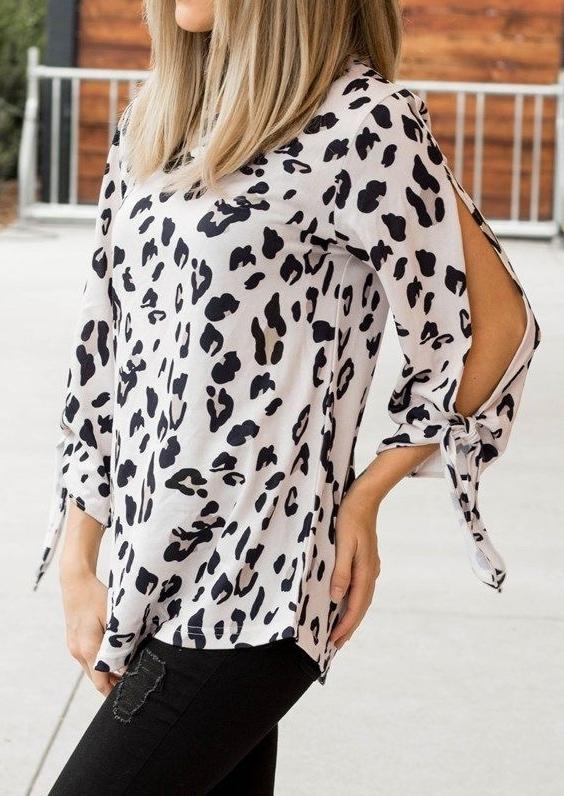 Leopard Printed Tie Blouse
