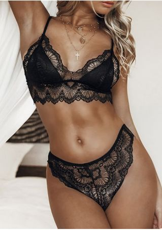 Solid Lace Sexy Lingerie Set without Necklace