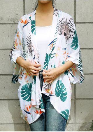 Floral Leaf Three Quarter Sleeve Cardigan