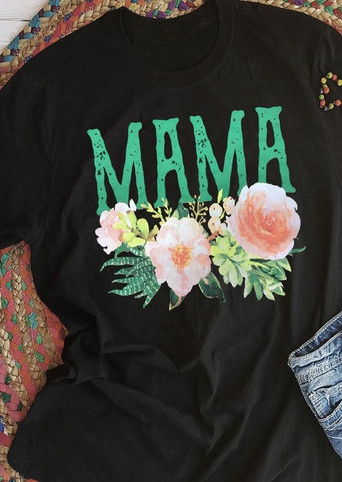 Mama Floral Short Sleeve T-Shirt Tee